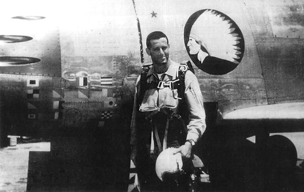 James Salter in front of his F-86 Sabre jet fighter during the Korean War, 1952.