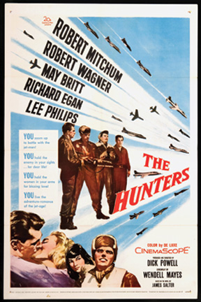 Original poster for The Hunters, a 1958 feature film adapted from the James Salter novel.