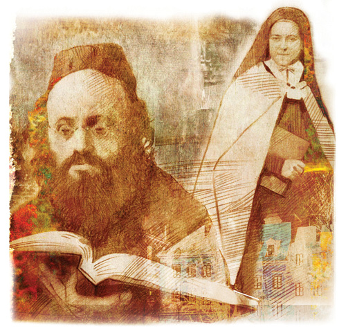 Rabbi Kalonymus Kalmish Shapira and St. Thérèse of Lisieux. (Illustration by Val Bochkov.)