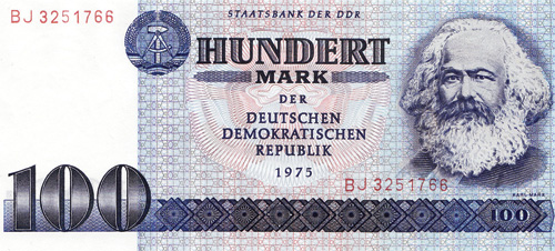 100 mark note featuring Marx and introduced in 1975 by the Staatsbank of the  former German Democratic Republic.