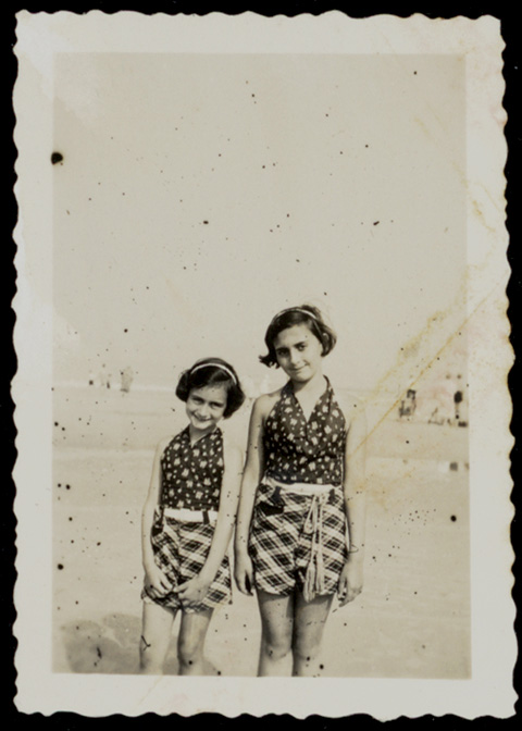 Anne Frank, left, and her sister, Margot, at the beach, ca. 1935. (Courtesy of Anne Frank Fonds/Anne Frank House via Getty Images.)