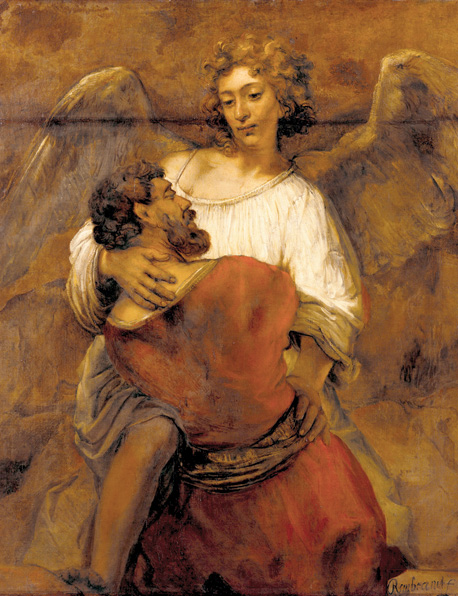 "Jacob Wrestling with the Angel""  by Rembrandt, ca. 1659."