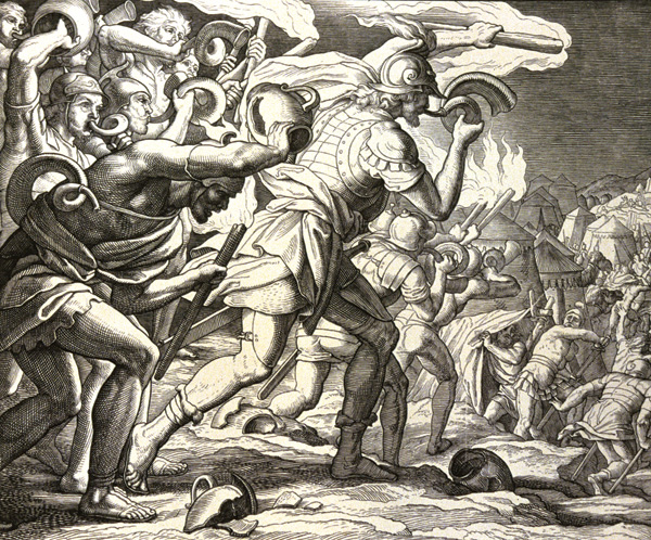 Gideon and his army enter the Midianites' camp, depicted by Julius Schnorr von Carolsfeld, 1860. (© CCI/The Art Archive at Art Resource, NY.)