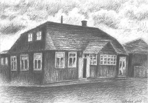 Rabbi Simcha Zissel Ziv's Talmud Torah in Kelm. (Drawing by Loren Hodes: www.lorenhodesart.co.za)