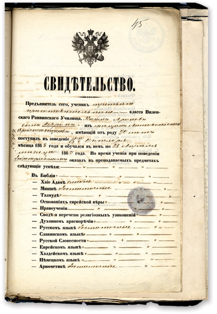 Pages from a certificate issued by the rabbinical seminary to a 20-year-old from Antokol, Vilna, ca. 1869. (Courtesy of YIVO.)