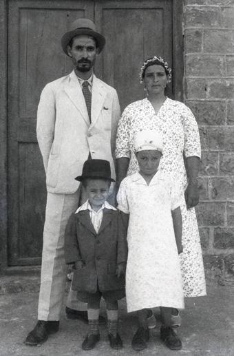 Haybi, his wife, Rumiyeh, and their children in British Mandate Palestine, ca. mid-1940s.