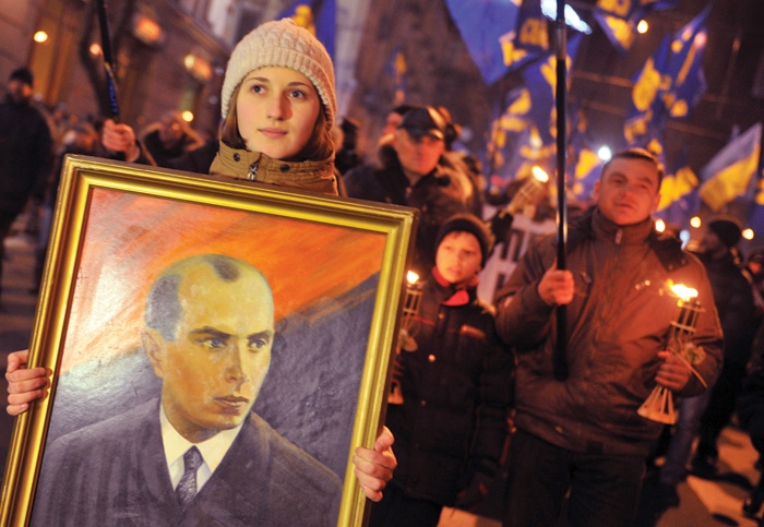 Ukrainian nationalists march to commemorate the 104th anniversary of the birth of Stepan Bandera, Kiev, January 1, 2013. (Photo courtesy of Genya Savilov/AFP/Getty Images.)