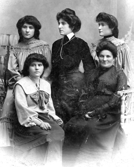 Helena Rubinstein, center, with her mother and three of her seven sisters in Poland, ca. 1888. (Courtesy of the Helena Rubinstein Foundation Archives, Fashion Institute of Technology, SUNY, Gladys Marcus Library, Special Collections.)