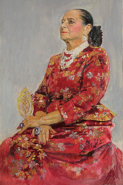 Helena Rubinstein in a Red Brocade Balenciaga Gown by Graham Sutherland, 1957. (Courtesy of the Daniel Katz Gallery, London. © Estate of Graham Sutherland.)