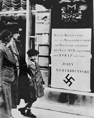 A sign in a restaurant window prohibits Jews from entering, Vienna, ca. March 1938.  (Courtesy of  the United States  Holocaust Memorial Museum.)