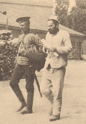 Mendel Beilis leaving court in May 1913, his indictment for ritual murder clasped in his hand. (Photograph courtesy of Edmund Levin.)
