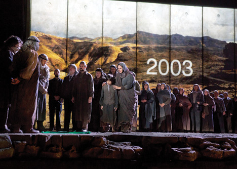 An opening chorus in The Death of Klinghoffer at the Metropolitan Opera, Lincoln Center, New York City, October 2014. (Courtesy of Ken Howard/Metropolitan Opera.)