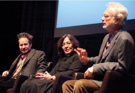 Director Peter Sellars, librettist Alice Goodman, and composer John Adams discuss Nixon in China at the American Repertory Theater, November 2011. (Photo by Jon Chase/Harvard News Office, © President and Fellows of Harvard College.)