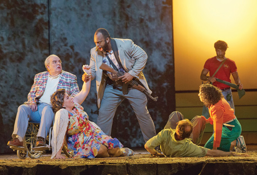 Alan Opie and Michaela Martens as Leon and Marilyn Klinghoffer, and Ryan Speedo Green as Rambo, a hijacker, in the Metropolitan Opera's premiere of The Death of Klinghoffer, Lincoln Center, New York City, 2014. (Courtesy of Ken Howard/Metropolitan Opera.)