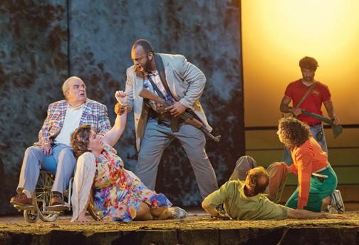 Alan Opie and Michaela Martens as Leon and Marilyn Klinghoffer, and Ryan Speedo Green as Rambo, a hijacker, in the Metropolitan Opera's premiere of The Death of Klinghoffer, Lincoln Center, New York City, 2014. (Courtesy of Ken Howard/Metropolitan Opera.)