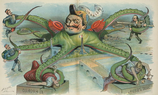 French political cartoon by Louis Dalrymple, which appeared in Puck, 1898, depicting the Dreyfus scandal. (Courtesy of the Library of Congress Prints and Photographs Division.)