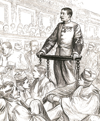 Lieutenant-Colonel Marie-Georges Picquart, testifying at the Zola trial in Paris, 1898. Engraving by Sabattier et Thiriat from l'Illustration.