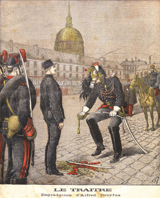 The public humiliation of Alfred Dreyfus at the École Militaire by Henri Meyer, which appeared on the cover of Le Petit Journal, January 13, 1895. (From the Bibliothèque Nationale de France.)