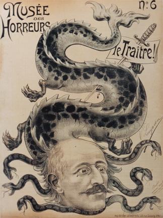 Depiction of Dreyfus in Musée des Horreurs: Le Traître! by Imprimerie Lenepveu, ca. 1899. (Courtesy of the Lorraine Beitler Collection of the Dreyfus Affair, University of Pennsylvania Libraries.)