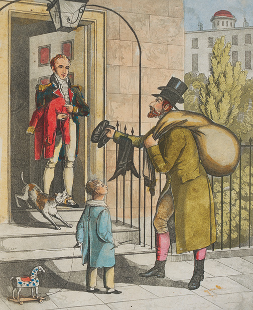 """Old clothes"""" man selling his wares to a gentleman at his home, ca. 1820. (Courtesy of the Jewish Museum, London.)"""