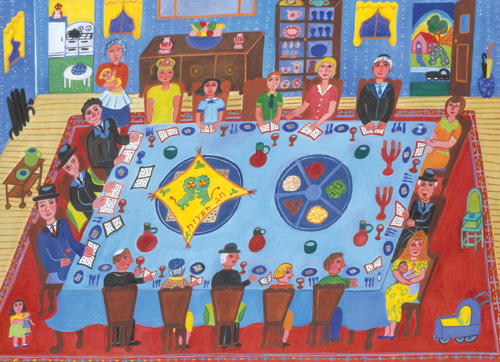 Passover Seder by Malcah Zeldis, 1999. (Art Resource, New York, © 2015 Artist Rights Society (ARS), New York.)