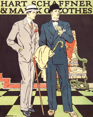 An advertisement for Hart Schaffner & Marx Clothes by Jay Hyde Barnum, 1926.
