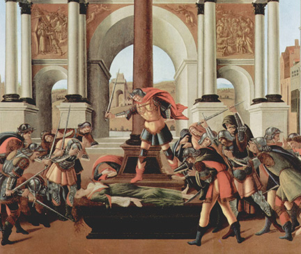 A detail from The Tragedy of Lucretia by Sandro Botticelli.