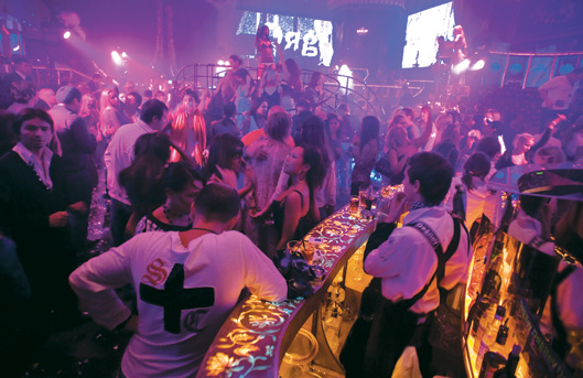Partying in a Moscow nightclub.