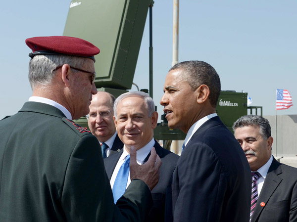 U.S. President Barack Obama with IDF Chief of Staff Benny Gantz, left, and Prime Minister Benjamin Netanyahu next to a battery of Iron Dome, March 20, 2013, Ben Gurion International Airport near Tel Aviv. (Photo by Avi Ohayon/GPO/ FLASH90.