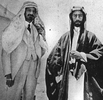 Chaim Weizmann, left, wearing Arab dress as a sign of friendship with Emir Feisal I in Syria, 1918.