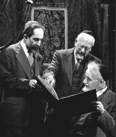 Chancellor Louis Finkelstein, Professor Mordecai M. Kaplan, and librarian Alexander Marx at The Jewish Theologial Seminary, early 1950s. (Photo by Gjon Mili/The LIFE Picture Collection/Getty Images.)
