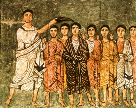 Samuel Anoints David, ca. 239 C.E., Dura Europos Synagogue, Syria. (Art Resource, NY.)