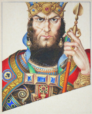 King Saul, King of Spades, from the Szyk Heroes of Ancient Israel Playing Card Art. (Reproduced with the cooperation of The Arthur Szyk Society.)