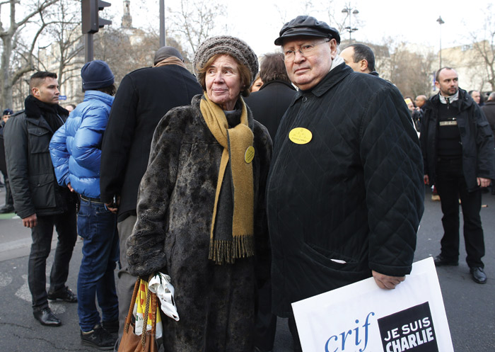 Nazi hunters Beate and Serge Klarsfeld take part in a unity rally, Paris, January 11, 2015, which paid tribute to the 17 victims of the Paris massacres. (Photo by Thomas Samson/AFP/Getty Images.