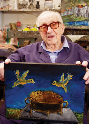 Yosl Bergner in his studio, Jerusalem, ca. 2010. (Courtesy of the artist.)