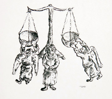 """The good deeds and evil balanced each other exactly,"" from The Three Gifts by Yosl Bergner, 1950. (From 59  Illustrations to All the Folk Tales of Itzchok Leibush Peretz, published by Hertz and Edelstein, Montreal. Courtesy of  the artist.)"