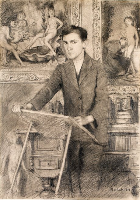 Self-Portrait Behind the Sketch Desktop by Bruno Schulz, 1919. (From the collection of the Emanuel Ringelblum Jewish Historical Institute in Warsaw.)