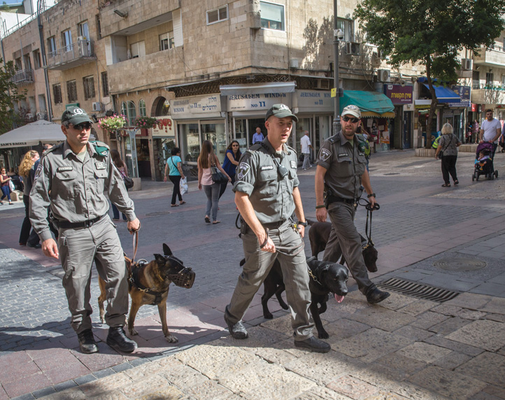 Police of the K9 unit patrol on Ben Yehuda Street, central Jerusalem, October 2015, as security increased following a wave of terror attacks. (Photo by Nati Shohat/Flash90.)