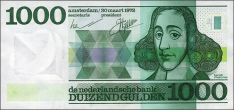 CDutch 1000-guilder note honoring Baruch Spinoza.