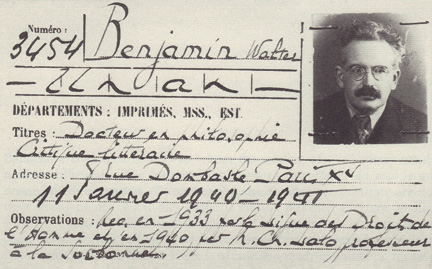 Walter Benjamin's library card, Paris, 1940. (From the Bibliothèque Nationale.)
