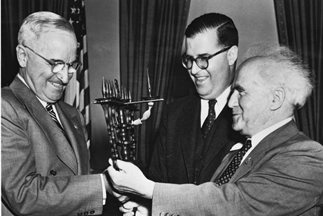 President Harry Truman meets with Israeli Ambassador Abba Eban and Prime Minister David Ben-Gurion at the White House, May 1, 1951. (Photo by Fritz Cohen, courtesy of the Government Press Office, Israel.)