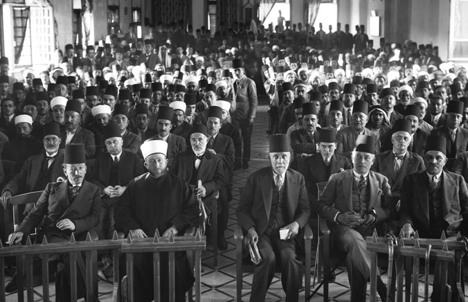 Hajj Ammin al-Husseini (second from left), the mufti of Jerusalem, at a meeting in 1929. (Courtesy of the Library of Congress, Prints and Photographs Division.)