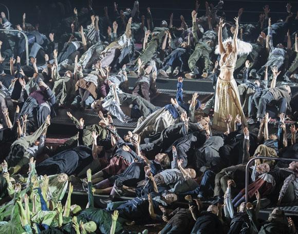 """Dance around the Golden Calf"" from Moses und Aron,  Komische Oper, Berlin. (Photo © Monika Rittershaus.)"