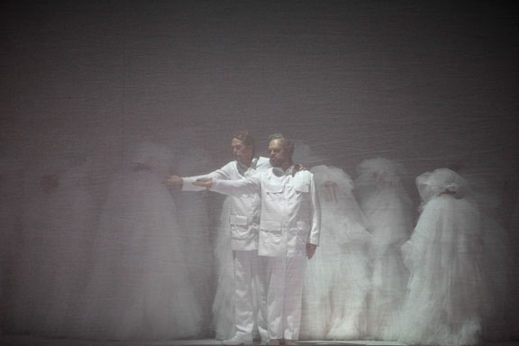 Moses and Aron in a scene from Romeo Castellucci's production of Moses und Aron at the National Opéra of Paris. (Courtesy of Bernd Uhlig.)