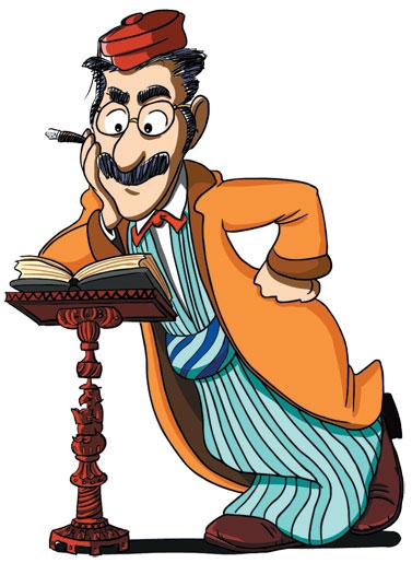 Groucho Marx as The Wise Son by Richard Codor. (Courtesy of Richard Codor and Joyous Haggadah:  www.haggadahsrus.com.)
