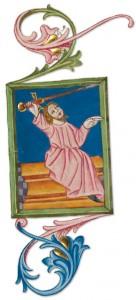 Illumination from The Monk's Haggadah.  (Courtesy of The Pennsylvania State University Press.)