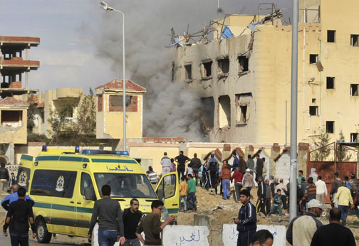 A car bomb explosion that targeted a police station in North Sinai's provincial capital of al-Arish, April 2015, where security forces are battling an Islamist insurgency. (AFP/Getty Images.)