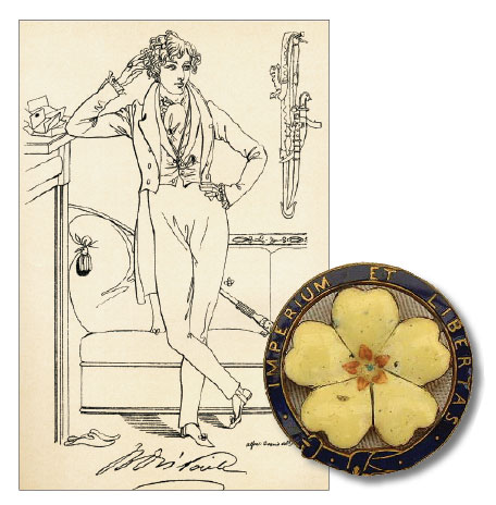 Benjamin Disraeli as a young man and literary figure during his dandy phase by Daniel Maclise, 1833. (Universal History Archive/UIG via Getty Images.) Right: The pin of the Primrose League