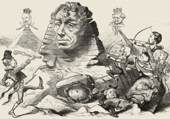 The Impenetrable, by Jack Butler Yeats, June 1875, depicts Benjamin Disraeli remaining calm while  attacked by domestic opposition and Irish Home Rule issues. (Photo by Hulton Archive/Getty Images.)