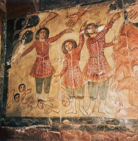The Vision of Ezekiel from the synagogue at Dura Europos. (National  Museum, Damascus, SEF/Art Resource, NY.)